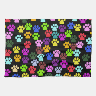 Pattern Of Paws, Dog Paws, Trails - Red Blue Green Tea Towel
