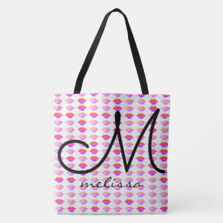 pattern of pink lips with name tote bag