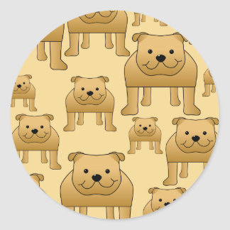 Pattern of Red English Bulldogs. Round Stickers