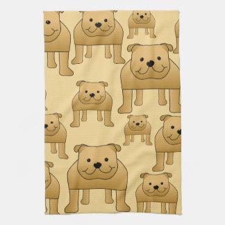 Pattern of Red English Bulldogs Kitchen Towel
