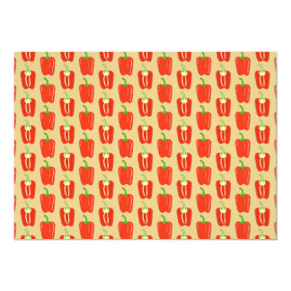 Pattern of Red Peppers. 13 Cm X 18 Cm Invitation Card