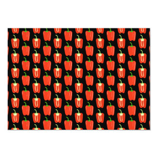 Pattern of Red Peppers, on Black. 13 Cm X 18 Cm Invitation Card