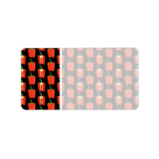Pattern of Red Peppers, on Black. Address Label