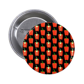 Pattern of Red Peppers on Black Pinback Buttons