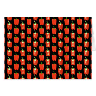 Pattern of Red Peppers on Black Card