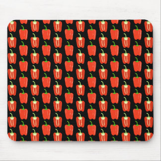 Pattern of Red Peppers on Black Mouse Pads