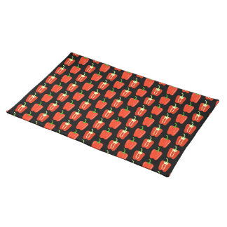 Pattern of Red Peppers, on Black. Place Mat