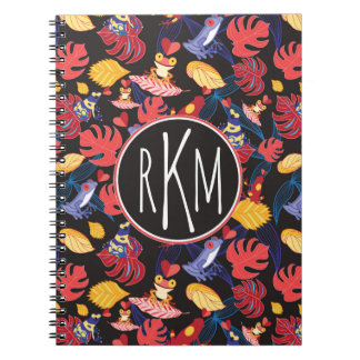 Pattern Of The Lovers Frogs | Monogram Spiral Note Book