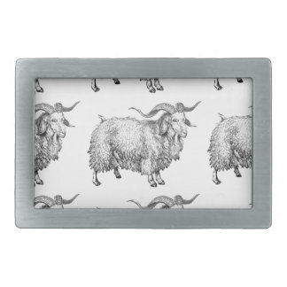 pattern of the old ram rectangular belt buckle