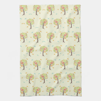 Pattern of trees and birds hand towels