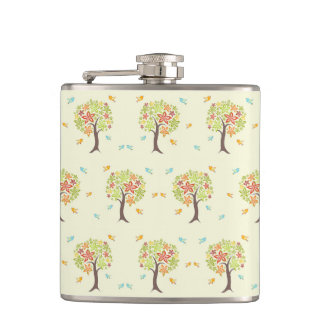 Pattern of trees and birds hip flask
