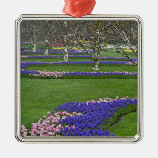 Pattern of tulips and Grape Hyacinth flowers, 4 Silver-Colored Square Decoration