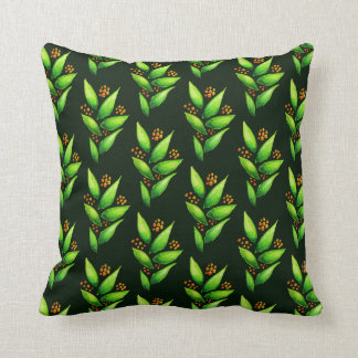 Pattern Of Watercolor Green Plants With Berries Cushion