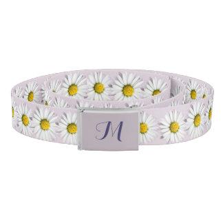 Pattern of Yellow and White Daisies Monogram Belt