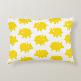 Pattern of Yellow Pigs on a White Background Decorative Cushion