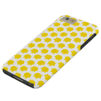 Pattern of Yellow Pigs on a White Background Tough iPhone 6 Plus Case