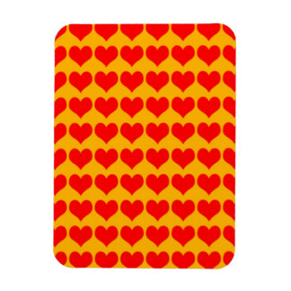 Pattern: Orange Background with Red Hearts Vinyl Magnets