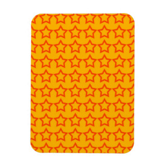 Pattern Orange Background with Red Stars Magnet