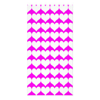 Pattern Pink Background with White Hearts Picture Card