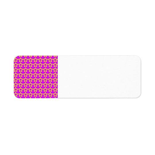Pattern: Pink Background with Yellow Stars Return Address Label