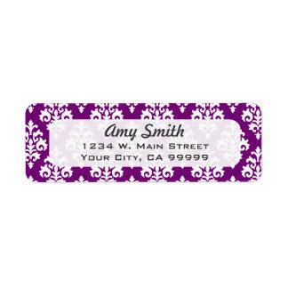 Pattern Purple White Damask Return Address Labels