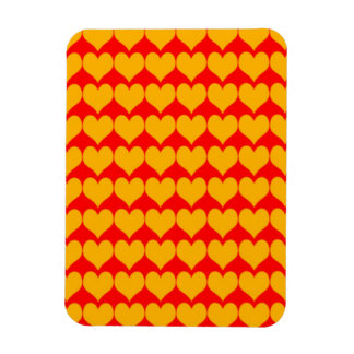 Pattern: Red Background with Orange Hearts Rectangular Magnets