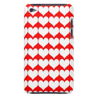 Pattern: Red Background with White Hearts Barely There iPod Covers