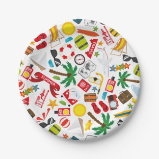 Pattern Summer holiday travel south sea 7 Inch Paper Plate