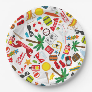 Pattern Summer holiday travel south sea 9 Inch Paper Plate