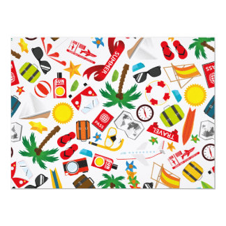 Pattern Summer holiday travel south sea Card