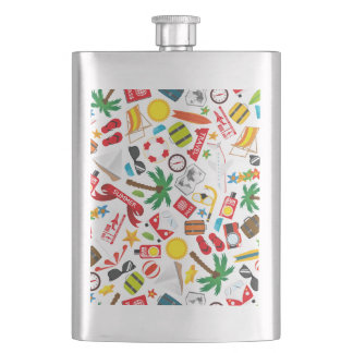 Pattern Summer holiday travel south sea Hip Flask