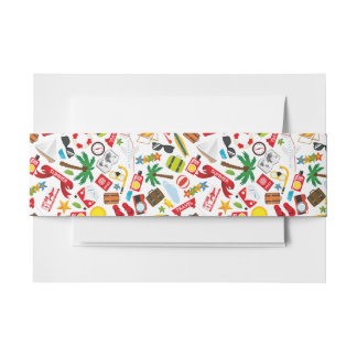 Pattern Summer holiday travel south sea Invitation Belly Band