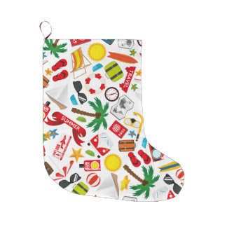 Pattern Summer holiday travel south sea Large Christmas Stocking