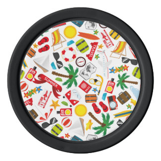 Pattern Summer holiday travel south sea Poker Chips