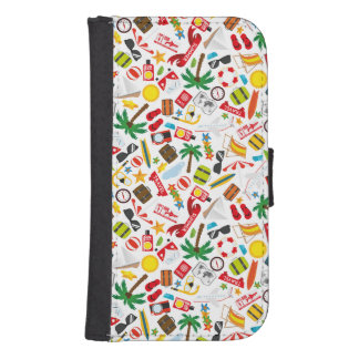 Pattern Summer holiday travel south sea Samsung S4 Wallet Case