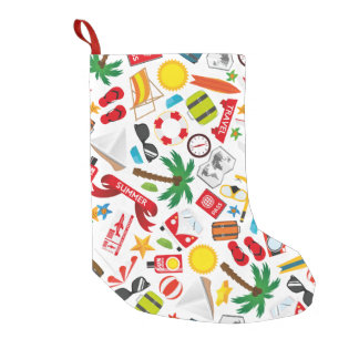 Pattern Summer holiday travel south sea Small Christmas Stocking