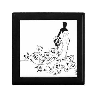 Pattern Wedding Bride Silhouette Small Square Gift Box