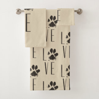 Pattern with a Paw Print that Spells Out Love Bath Towel Set