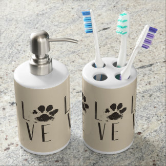 Pattern with a Paw Print that Spells Out Love Bathroom Set