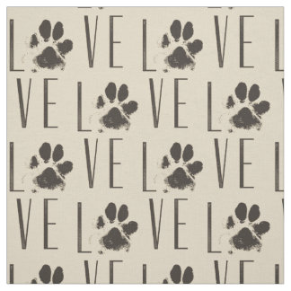 Pattern with a Paw Print that Spells Out Love Fabric