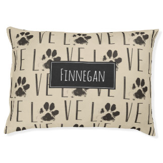 Pattern with a Paw Print that Spells Out Love Pet Bed