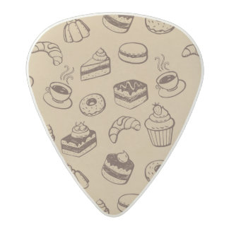 Pattern With Cakes, Desserts And Bakery Acetal Guitar Pick