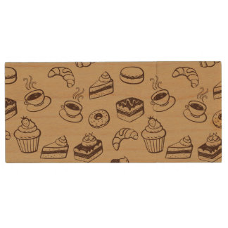 Pattern With Cakes, Desserts And Bakery Wood USB 2.0 Flash Drive