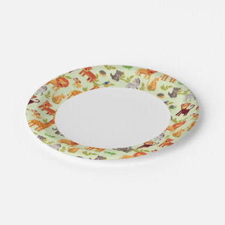 Pattern With Cartoon Animals 7 Inch Paper Plate