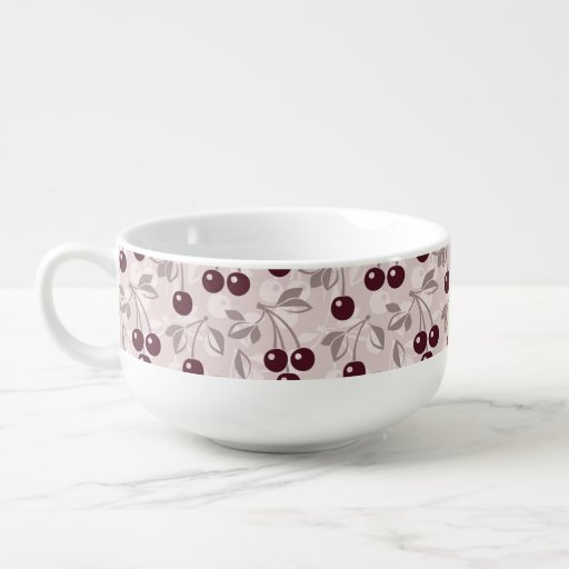 Pattern with Cherries 2 Soup Bowl With Handle