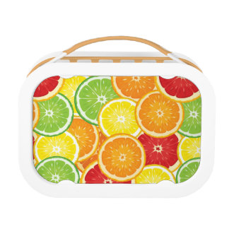 Pattern with citrus fruits lunch boxes