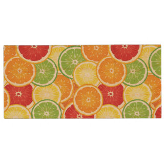 Pattern with citrus fruits wood USB 2.0 flash drive
