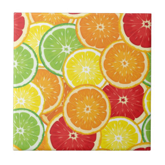 Pattern with citrus fruits small square tile
