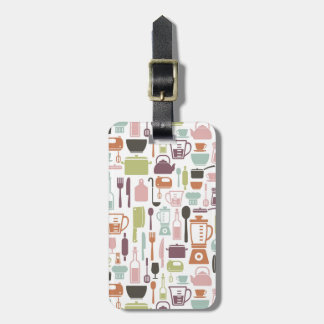 Pattern with colorful cooking icons luggage tag