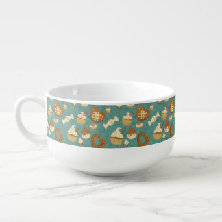 Pattern with cupcakes and candies soup mug
